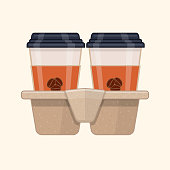 Two disposable coffee cups in cardboard cup carry tray. Flat vector illustration