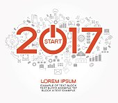2017 text design on creative business success strategy. Concept modern template layoutю 2017 text surrounded by doodle icons