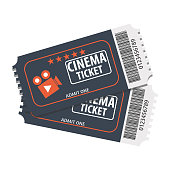 Two tickets to the movies. Vector cinema ticket. Cartoons movie tickets.