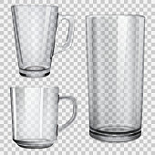 Two transparent glass cups and one glass for juice. On checkered background. Vector illustrations.