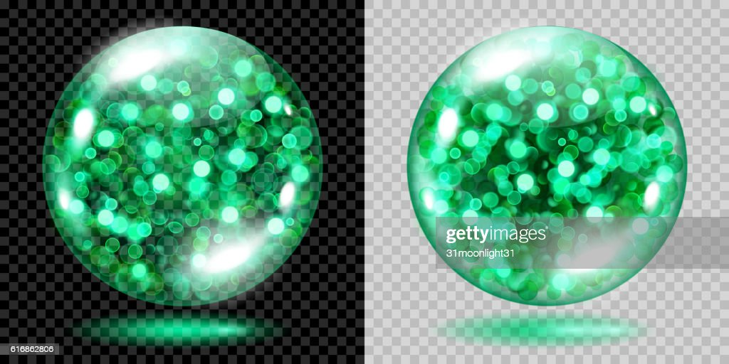 Two transparent spheres with green sparkles : Vector Art