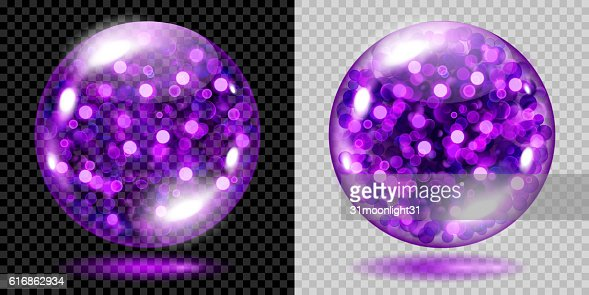 Two transparent spheres with violet sparkles : Vector Art