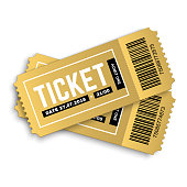 Vector golden party ticket isolated on white background. Cinema, theatre,  concert, play, party, event and festival gold ticket realistic template set. Ticket icon for website.