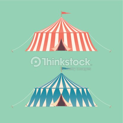 Two Vintage Circus Tents Vector Art | Thinkstock