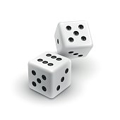 Two white dices casino icon isolated on white background