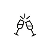 Icon of two wine glasses. Cheers, toast, dinner. Celebration and drinks concept. Can be used for topics like restaurant, party, date.