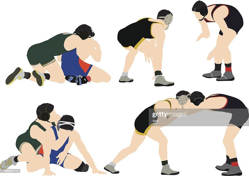 Two wrestlers in action : Vector Art