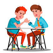 Two Young Strong Men Compete In Arm Wrestling Vector. Illustration