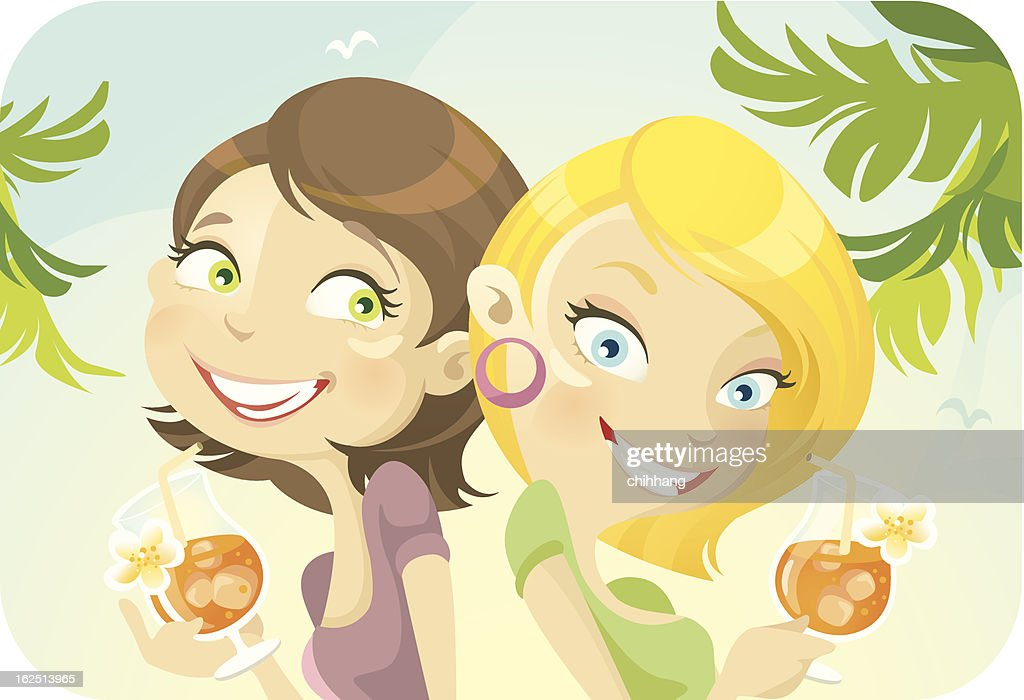 Two Young Woman Drinking Cocktails on Sunny Day : Vector Art