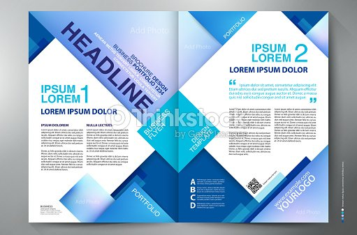 two page brochure design template with blue cubes vector art - Publication Design Ideas