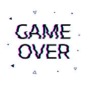 Type  Game over with glitch effect.  Abstract vector background.