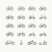 different types of bikes in one set of icons