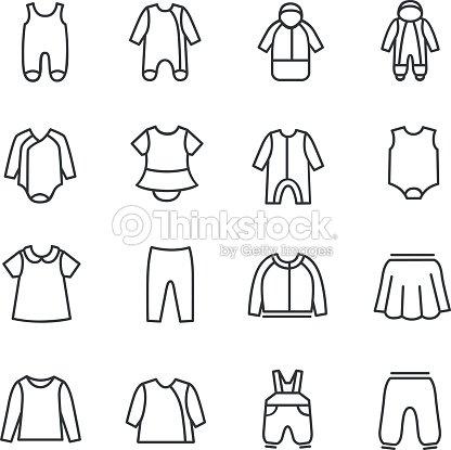 Tipos de ropa de bebés como iconos de línea   Arte vectorial 77d94b3da004