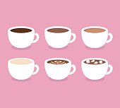 Different types of coffee: espresso, cappuccino, latte, hot chocolate with marshmallows. White coffee cups, vector illustration. Flat icon set.