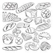 Types of healthy bakery foods. Croissant and fresh bread. Hand drawn vector bread loaf food, fresh bun and croissant, illustration