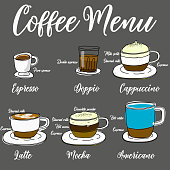Types of hot coffee In cute cartoon style drawings. vector illustration design.