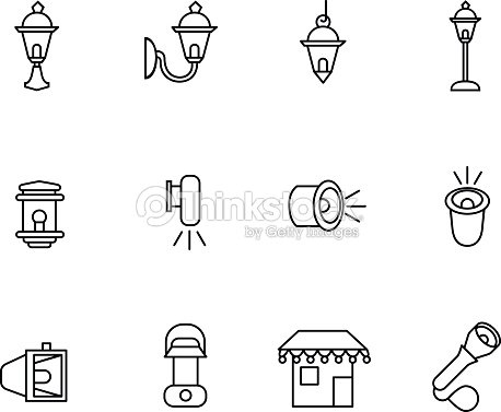 Types of lighting for outdoor use as line icons vector art thinkstock types of lighting for outdoor use as line icons vector art aloadofball Choice Image