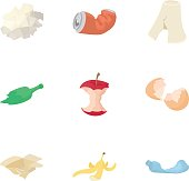 Types of waste icons set. Cartoon illustration of 9 types of waste vector icons for web