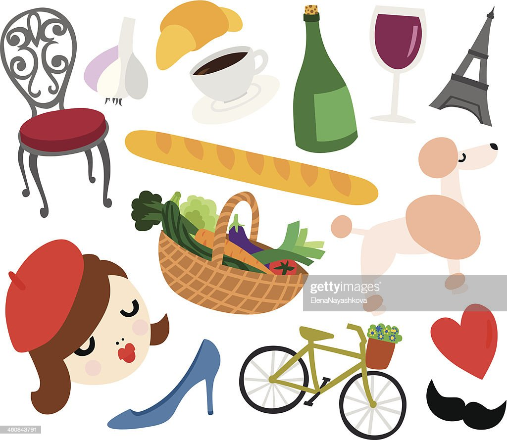 typical french things set vector art thinkstock rh thinkstockphotos in Paris Clip Art Valentine Clip Art