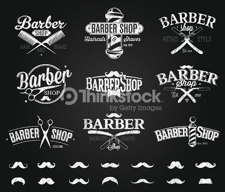 typographic barber shop emblems chalk drawing ベクトルアート