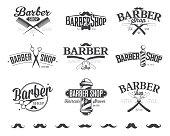Typographic Barber Shop Emblems