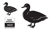 Typographic duck butcher cuts diagram scheme. Premium guide meat label