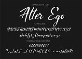 Calligraphic alphabet. Vector handdrawn letters. Typography alphabet for your designs: symbol, typeface, web banner, card, wedding invitation