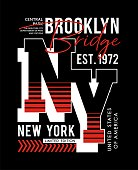 Set typography athletic New York City sport badge for t-shirt printing design and various uses, vector image.