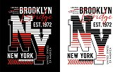 Typography athletic New York sport, slogan for t-shirt printing design and various uses, vector image.