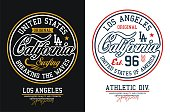 Typography California for t-shirt print and other uses. Athletic design graphic. Vector image.