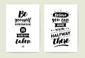 Set of 2 cards or posters with typography. Usable as flyer, banner or postcard. Vector lettering design. Scrapbooking or journaling cards with quotes.