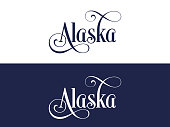 Typography of The USA Alaska States Handwritten Illustration on Official U.S. State Colors. Modern Calligraphy Element for your design. Simple vector lettering for t-shirts print, bags, posters, invit
