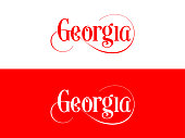 Typography of The USA Georgia States Handwritten Illustration on Official U.S. State Colors. Modern Calligraphy Element for your design. Simple vector lettering for t-shirts print, bags, posters, invi
