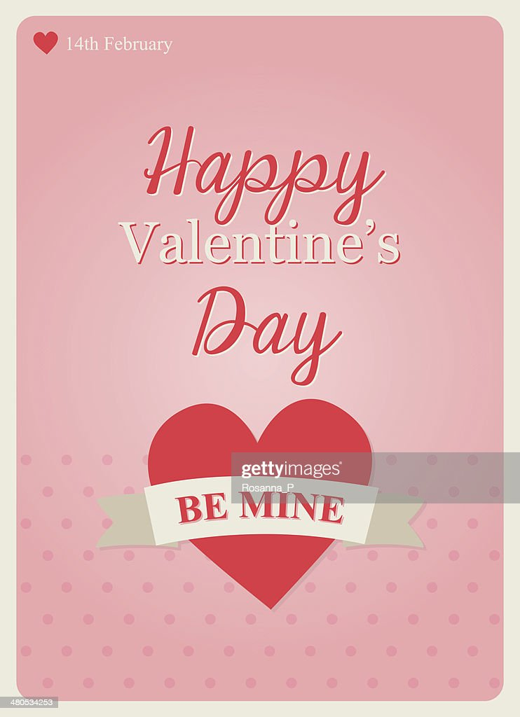 typography valentine's day card on pink background : Vector Art