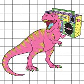 Tyrannosaurus Rex with boombox in retro 80s style. Vector illustration