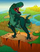 Tyrannosaurus with landscape background. Vector illustration of a cartoon dinosaur