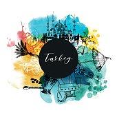 Turkey. Watercolor vector background.