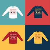 Ugly Christmas sweaters or jumpers with deers icons set