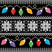 Winter, Xmas seamless design on black background
