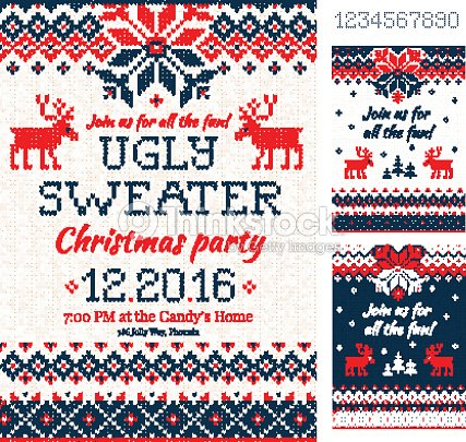f874c55693986 Ugly Sweater Christmas Party Cards Knitted Pattern Scandinavia stock ...