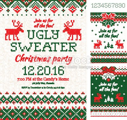 5764fec5283f5 Ugly Sweater Christmas Party cards. Knitted pattern. Scandinavian style  deers