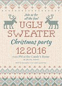 Ugly sweater Christmas party invite. Vector illustration Handmade knitted background pattern with deers and snowflakes, scandinavian ornaments. White, beige, brown, blue colors. Flat style