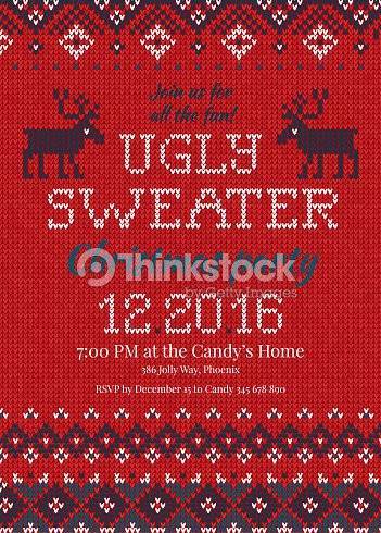 4f8b8a31bae8c Ugly sweater Christmas party invite. Knitted background pattern  scandinavian ornaments.