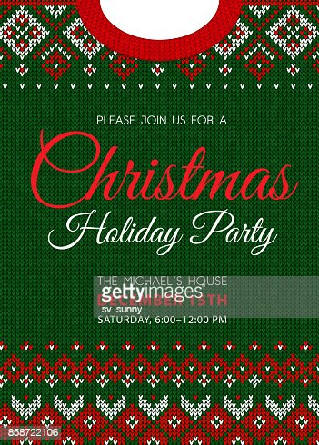 Ugly sweater party, Merry Christmas, Happy New Year greeting card. : Arte vettoriale