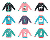 Ugly Sweaters Vector Set for Party Invitations and Awards.