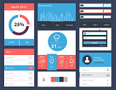 Ui kit for website and mobile app designs. Trend UI components for web or e-commerce