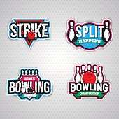 Colorful bowling logo design template,badge, emblem on grey background