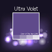 Ultra Violet color background. Trend color of year 2018. Abstract background with ultra violet color pattern. Vector illustration with bokeh and dark background. Vector illustration.