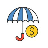 umbrella and coin, protecting money concept, bank and financial related icon, filled outline editable stroke