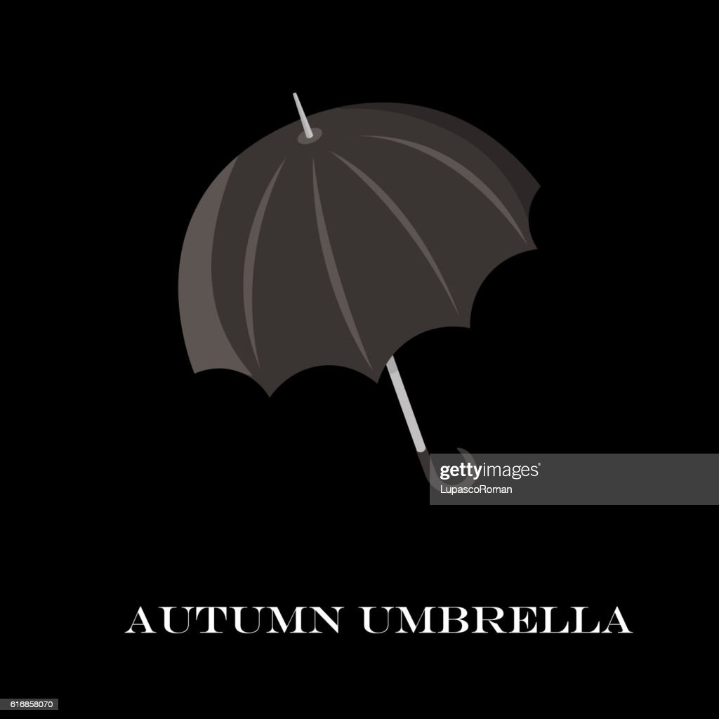 Umbrella closeup. Black icon. isolated background. cartoon flat style : Vector Art